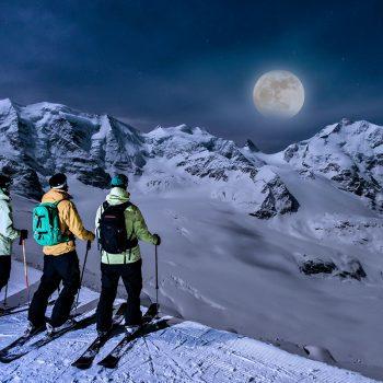 Vollmond Skifahren